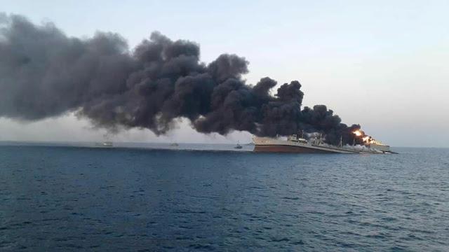 איראנ'ס גרעסטע מלחמה-שיף זינקט אין ים