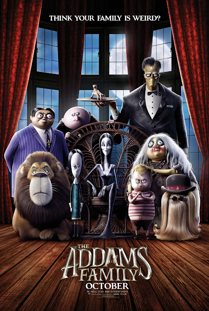 Metro-Goldwyn-Mayer and BRON Studios present the movie poster for the 2019 animated film The Addams Family, starring Oscar Isaac, Charlize Theron, Chloe Grace Moretz, Finn Wolfhard, Nick Kroll, Snoop Dogg, Allison Janney, and Elsie Fisher