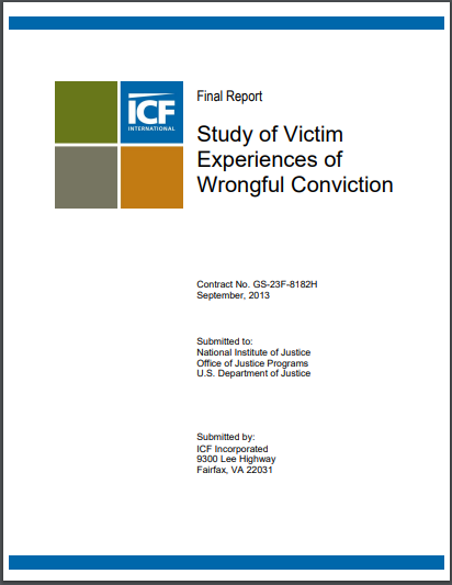 Study of Victim Experiences of Wrongful Conviction PDF by Emily Niedzwiecki