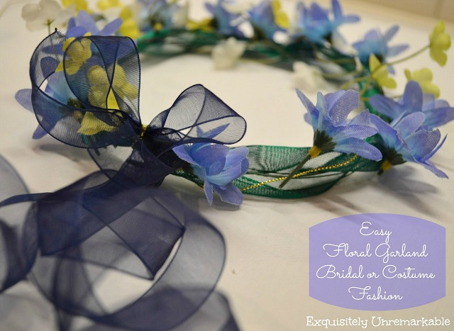 Floral headpiece with blue ribbon and text Easy Floral Garland Costume or Bridal Fashion