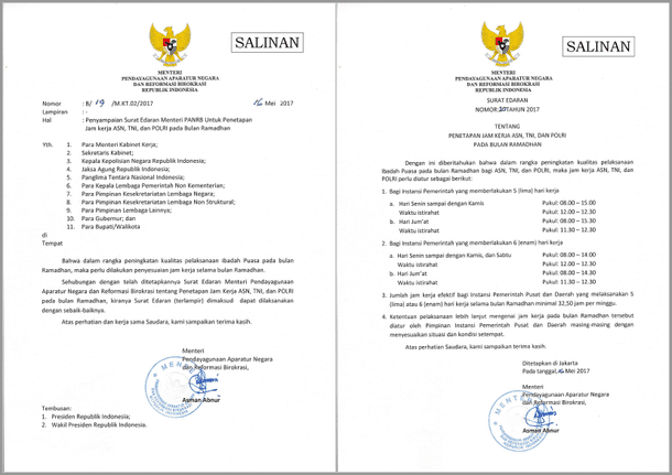 Surat Edaran MENPANRB Nomor 20 Tahun 2017 Tentang Penetapan Jam Kerja ASN, TNI, dan POLRI pada Bulan Ramadhan