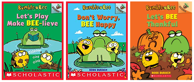 Let's Play Make BEE-lieve shows Froggy frowning reading a book on a lily pad in a pond with Bumble and Bee playing in mud pretending to be a cow and a pig, respectively. Don't Worry, BEE Happy shows a frowning Froggy on a lily pad with Bumble and Bee on either side smiling, Let's BEE Thankful shows Bumble and Bee playing in autumn leaves while Froggy frowns at a carved pumpkin that resembles her.