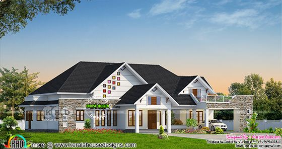 Sloping roof bungalow in an area of 2961 sq-ft