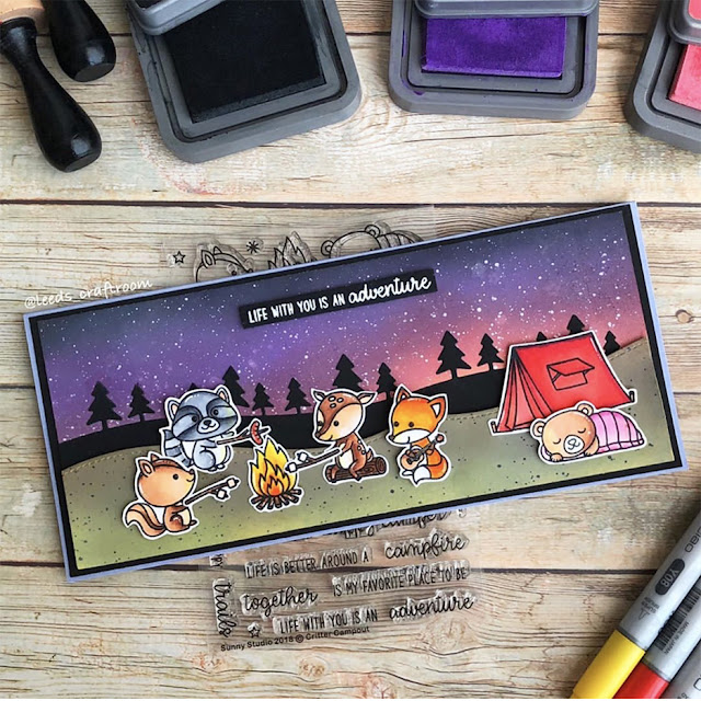 Sunny Studio Stamps: Critter Campout Customer Card by Leeds