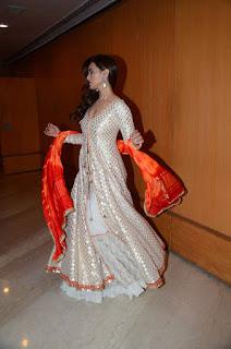 Actress Sana Khan Pictures in Designer Dress at Maheka Mirpuri Show 0002