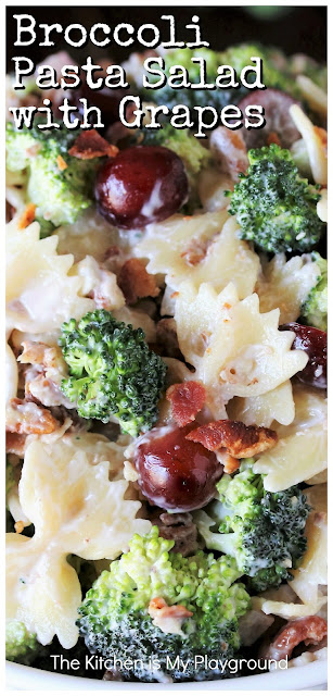 Broccoli Pasta Salad with Grapes ~ All the fabulous flavors of traditional broccoli salad, with the added hearty punch of pasta. Such a tasty salad that's perfect for any occasion!  www.thekitchenismyplayground.com