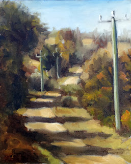Oil painting of a dirt road bordered by eucalypts and telephone poles.