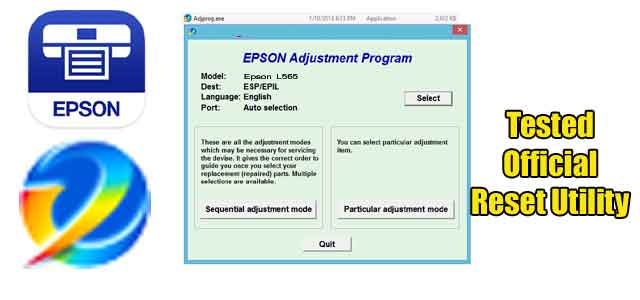 Epson L565 Adjustment program (Reset Utility)