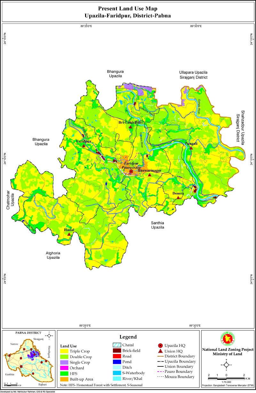 Faridpur Upazila Mouza Map Pabna District Bangladesh
