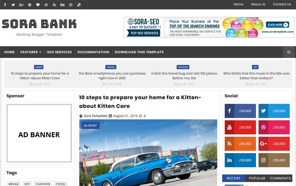 Responsive Banking Blogger Templates