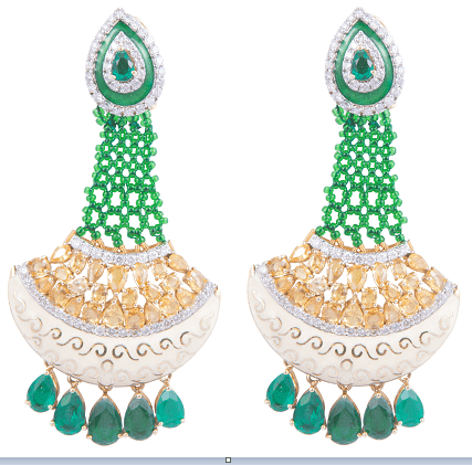 5.A beautiful pair of diamond earrings made in 14kt yellow gold having 51.910gms weight with enamel and green stones and real yellow sapphire @289100 by SLG Jewellers Pvt.-min