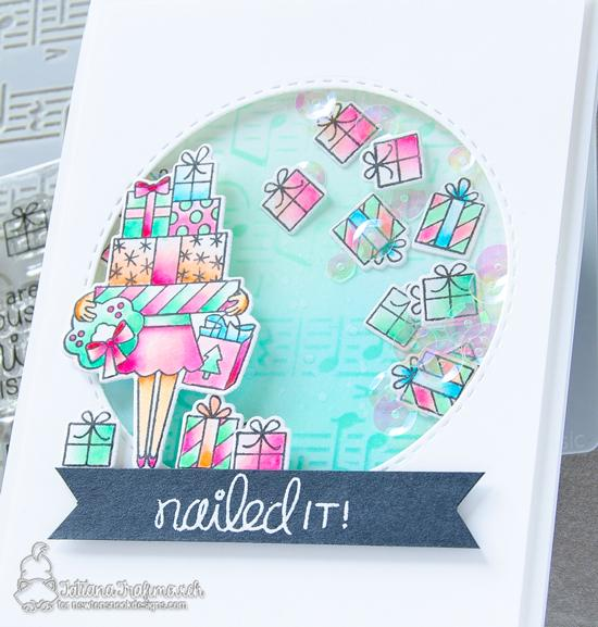 Nailed It! Shaker card by Tatiana Trafimovich | Christmas Haul Stamp Set and Music Stencil by Newton's Nook Designs #newtonsnook #handmade