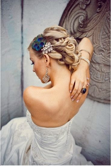 See more Bridal Hair - Wedding Upstyles & Updo's - A romantic twisted hair design with hair accessory is so chic!