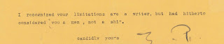 The end of a typed letter from Ezra Pound.