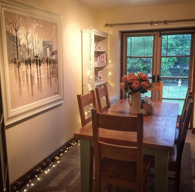 Fairy lights in dining room