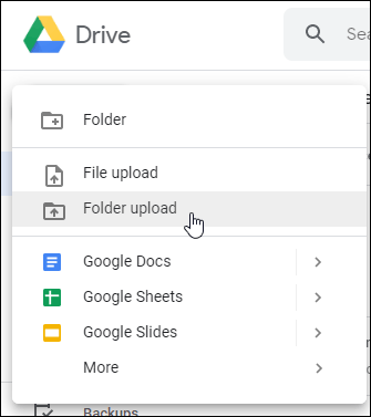 Google Web Web File أو Folder Upload Options