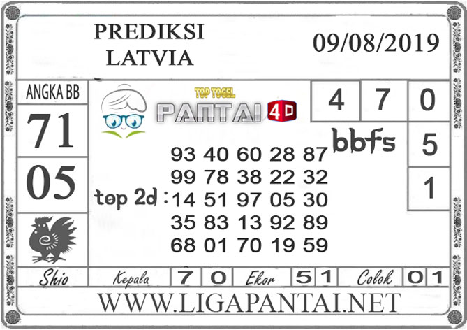 "PREDIKSI TOGEL ""LATVIA"" PANTAI4D 08 AGUSTUS 2019"