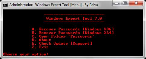 Windows Expert Tool 7.0 | Recuperar claves de producto para Windows, routers, inalámbricos, correo electrónico, mensajería y más