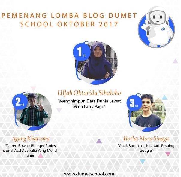 Jadi Juara 2 Dan 8 Di Lomba Blog DUMET School
