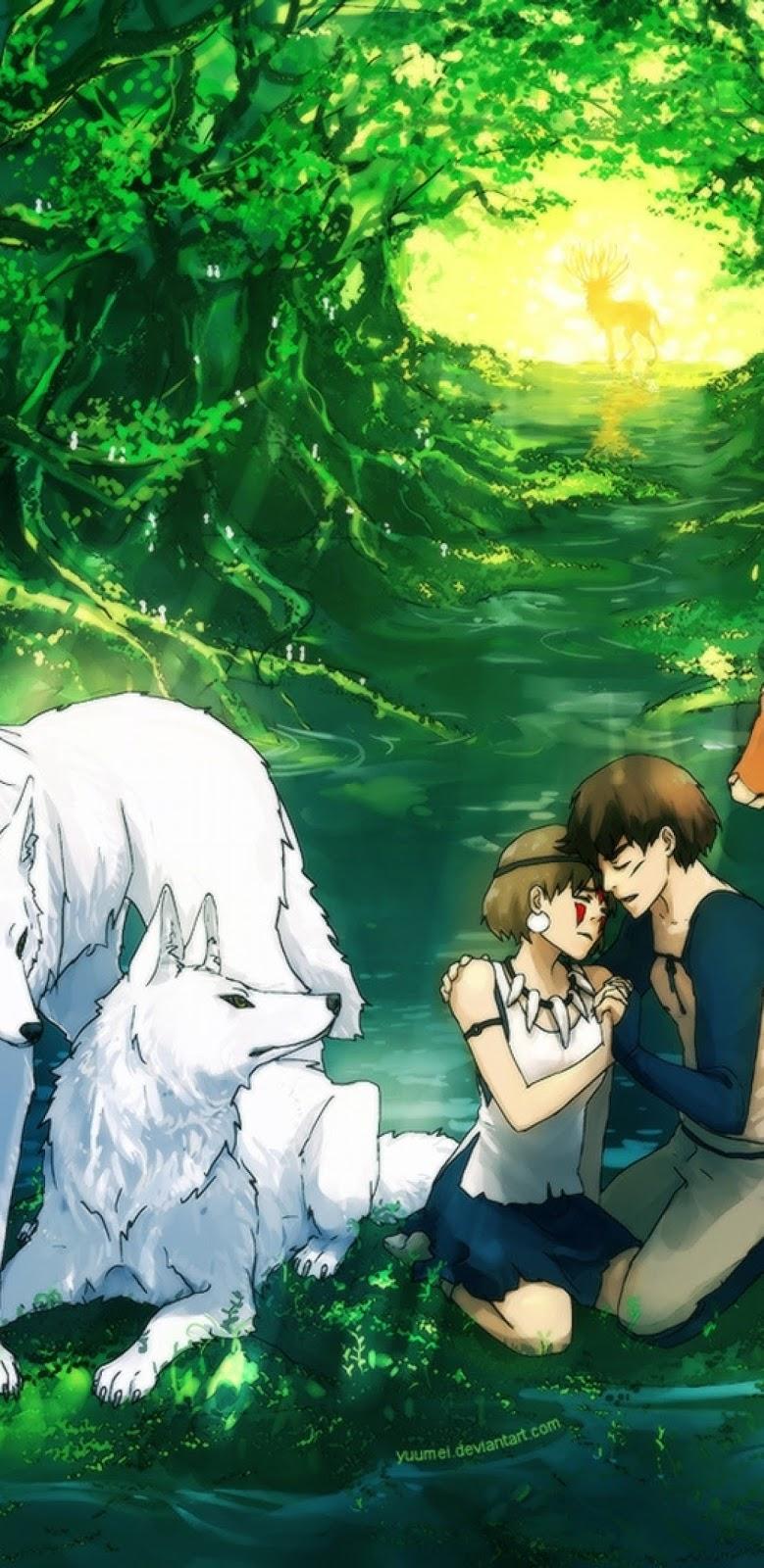 Princess Mononoke, San, Ashitaka, Forest, Wolves