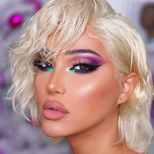 Maquiagem sombra neon colorida