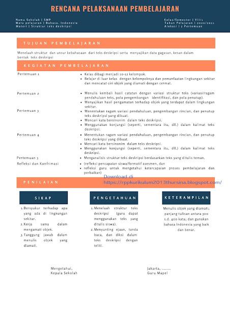 RPP 1 Lembar Bahasa Indonesia Kelas VII Tahun 2020/2021 | Materi Struktur Teks Deskripsi