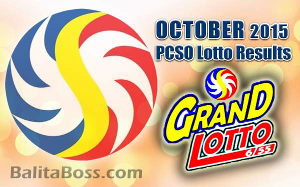October 2015 GrandLotto 6/55 PCSO Lotto Results