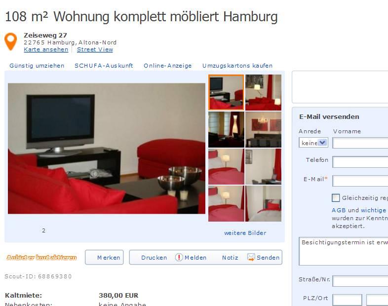 Zimmer Wohnung Hamburg  Warm