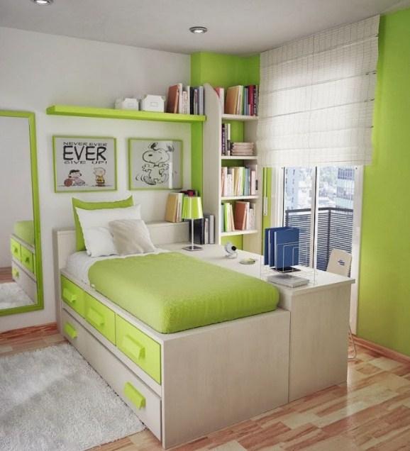interior kamar tidur minimalis hijau keren