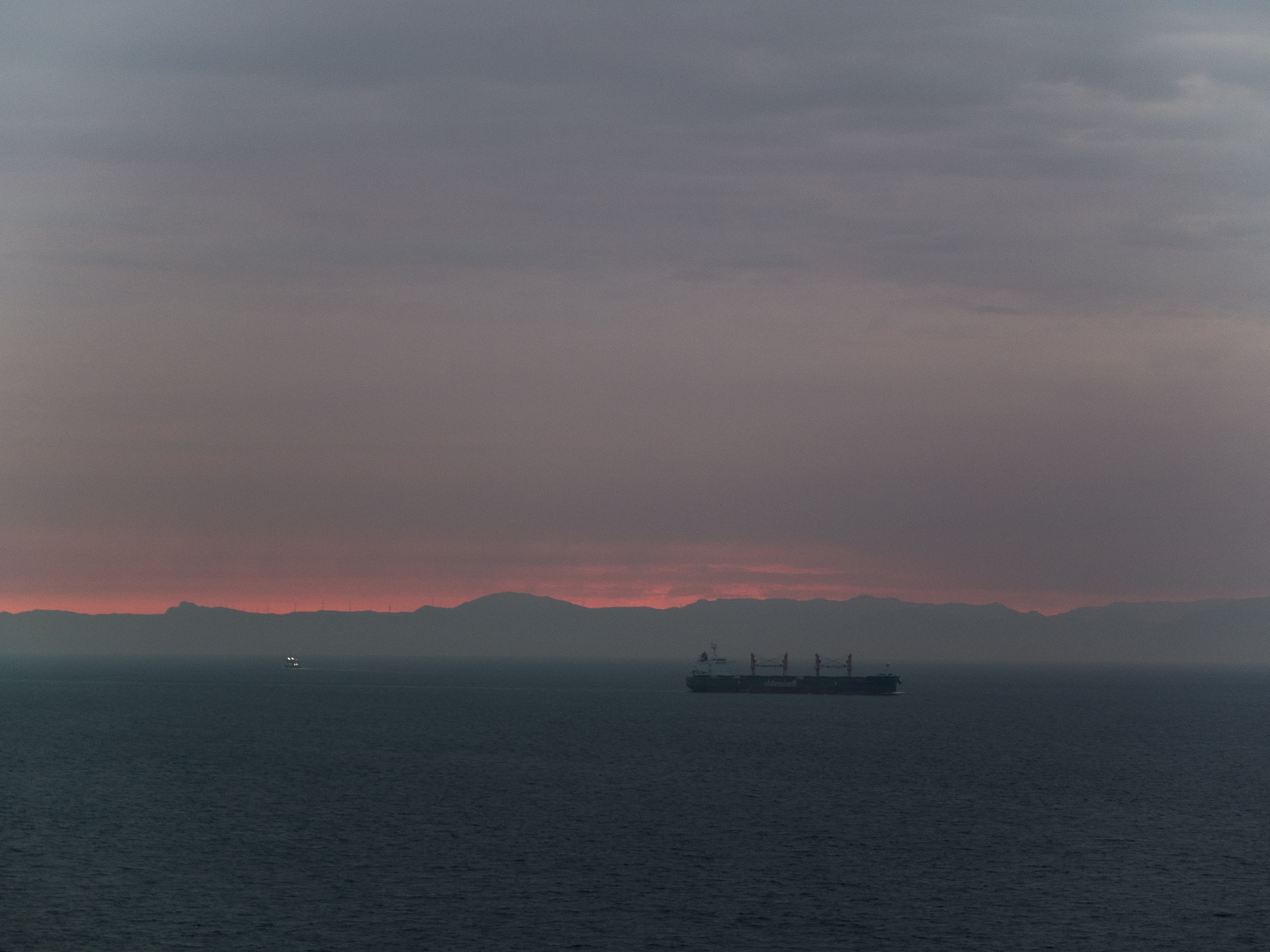 The landscape of Africa from the Strait of Gibraltar at sunrise.