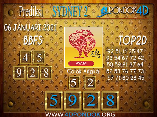 Prediksi Togel SYDNEY2 PONDOK4D 06 JANUARI 2021