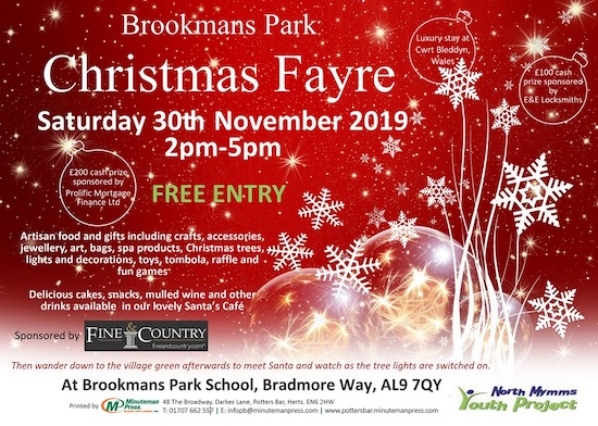 Flyer for Brookmans Park Christmas Fayre