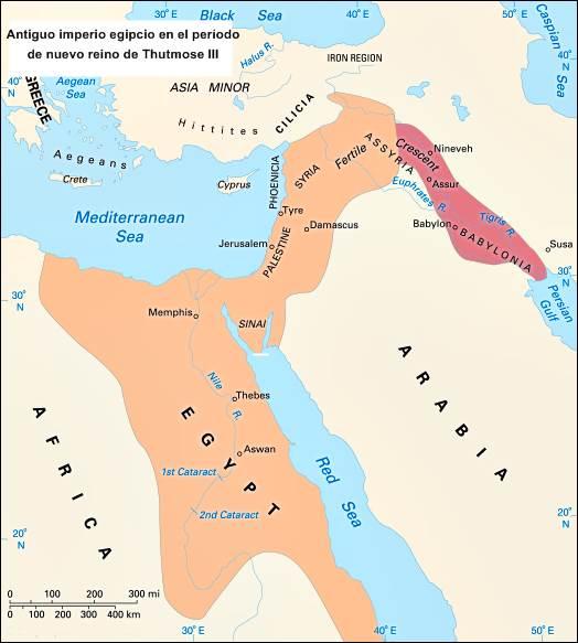 antiguo imperio egipcio durante el dominio de Thutmose III (1479-26 aC).