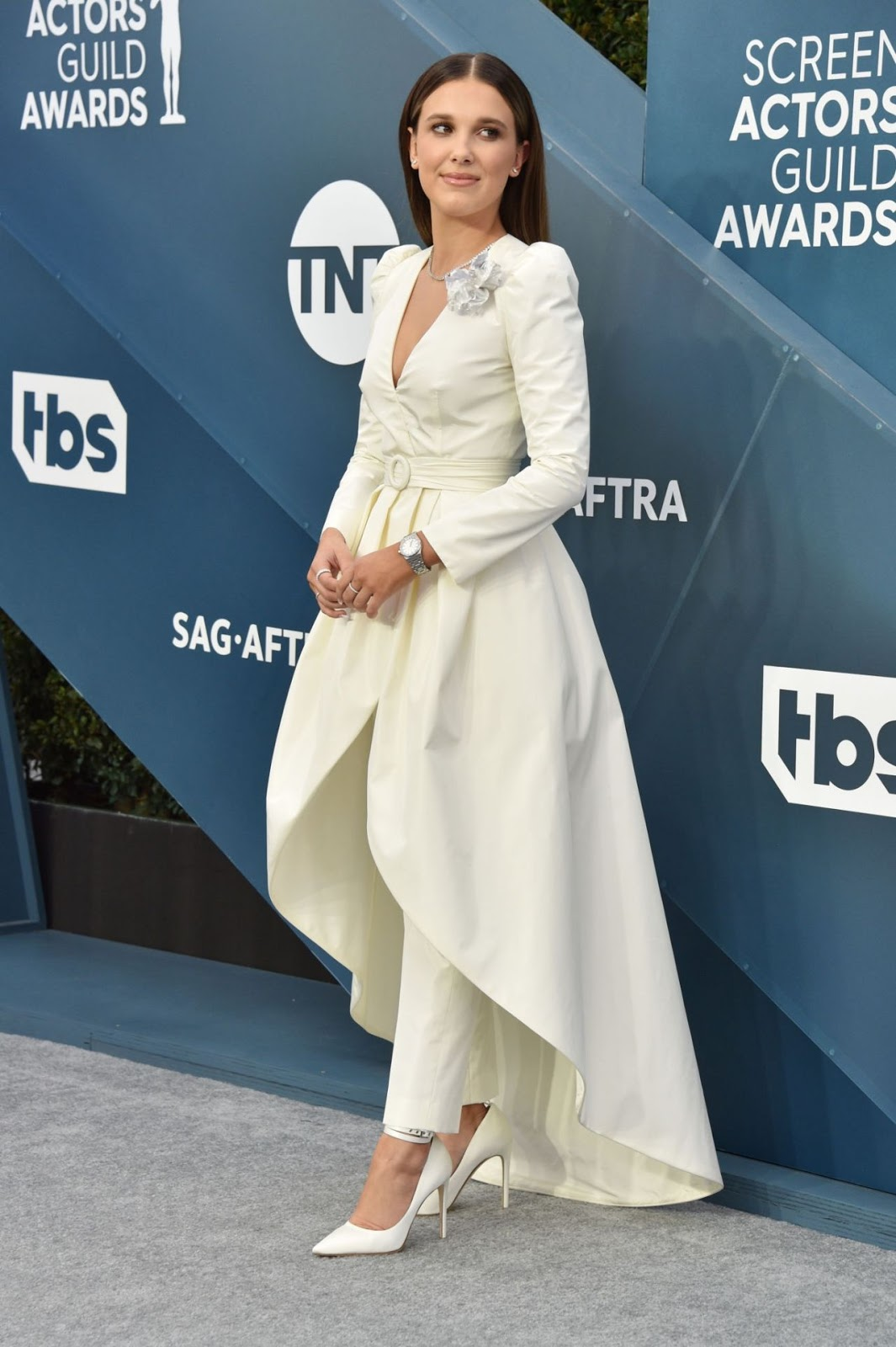 Millie Bobby Brown's SAG Red Carpet Look is Very Glam '80s Bridal