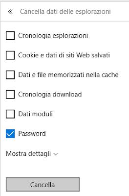 Cancella tutte le password memorizzate su edge