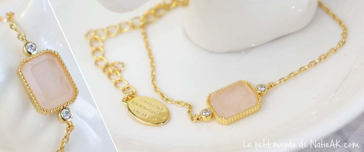 Bijou femme doré Pierre quartz rose