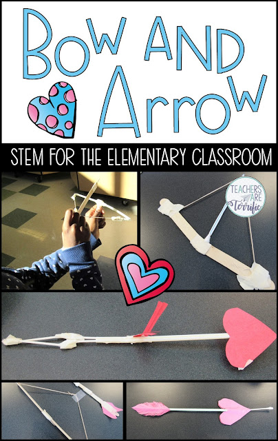 Perfect for Valentine's Day. This STEM Challenge will have your elementary students making a bow and arrow to launch at a target. #elementary #STEM