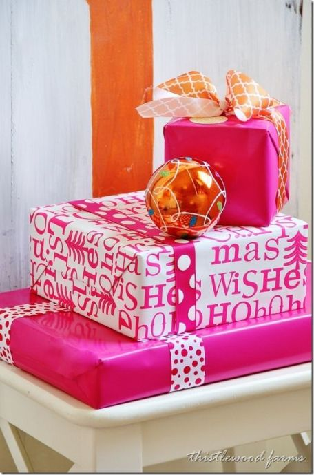 colorful pink and gold Christmas gift wrapping