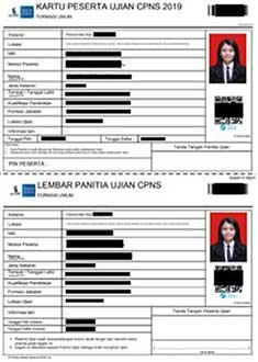 contoh kartu peserta ujian CPNS 2019