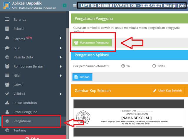 Manajemen pengguna di aplikasi Dapodikdasmen