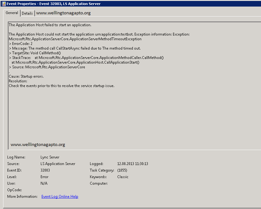 Lync Server Audio test Service não inicia no Lync Server 2013 [ CsAudioTestServiceApplication error ]