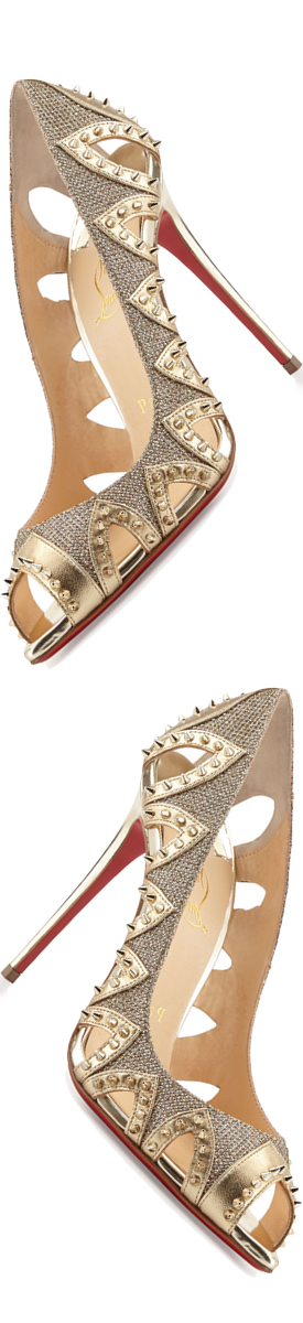 Christian Louboutin Circus City Spiked Cutout Red Sole Pump, Gold