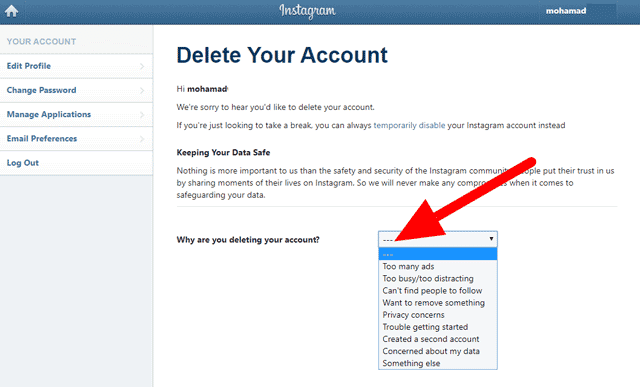 طريقة حذف حساب انستقرام بدون رقم سري