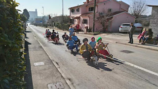 Traditional race of wooden scooters with steel ball bearing wheels, held in Pula on 17.02.2019.