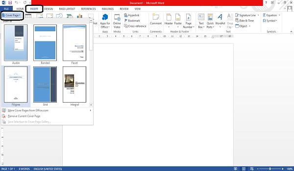 cara membuat cover page