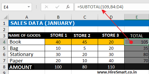 Addition Between Columns Excel Formula With SUBTOTAL Function