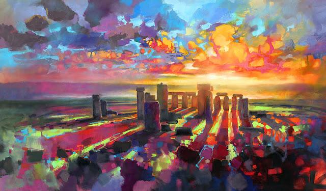 'Stonehenge Equinox', 200 x 100cm, minyak di linen