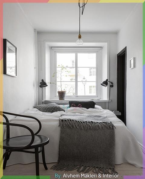 غرف نوم صغيرة المساحة باللون الأبيض والرمادي