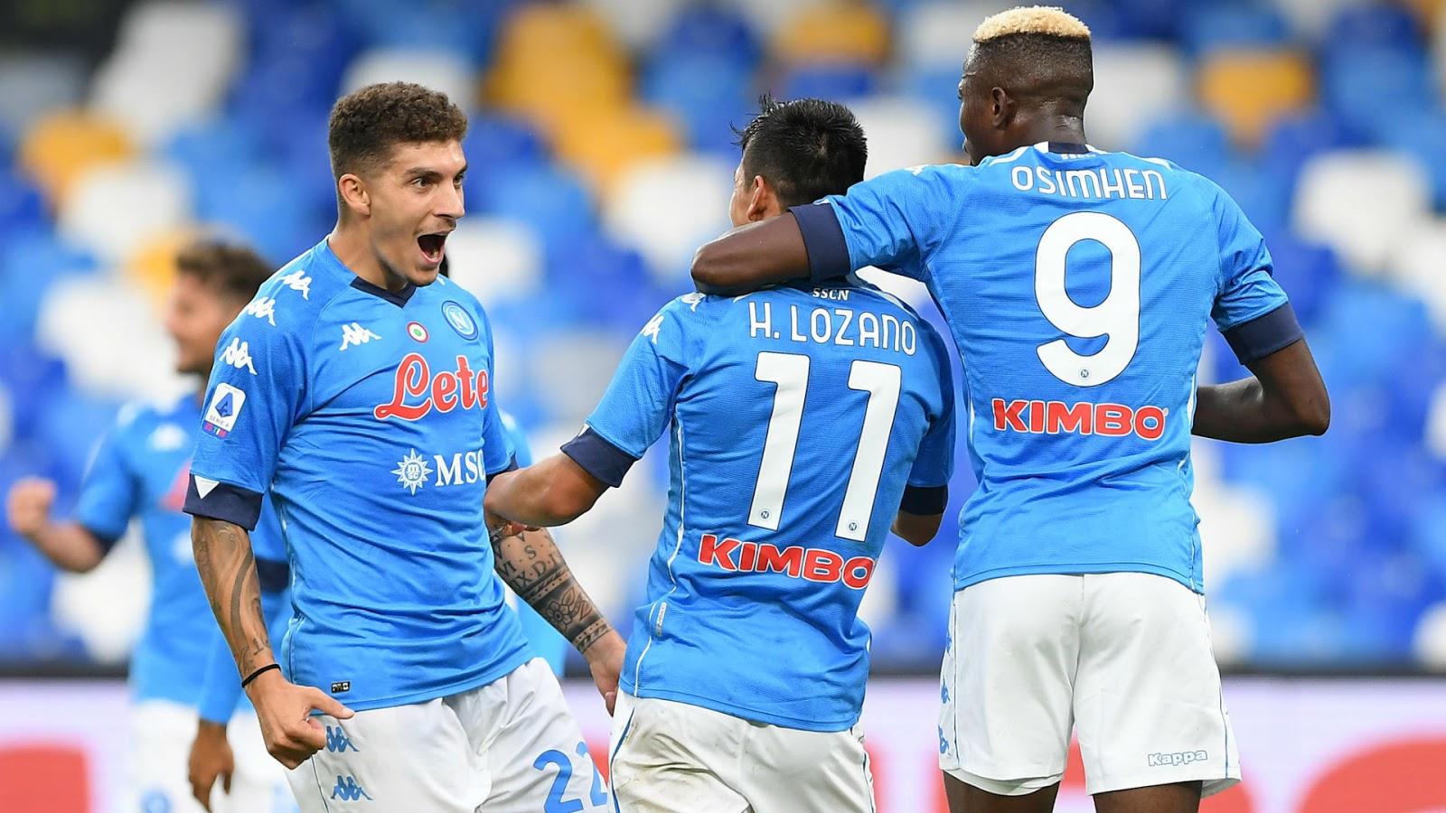 Napoli celebrate their 6-0 win over Genoa