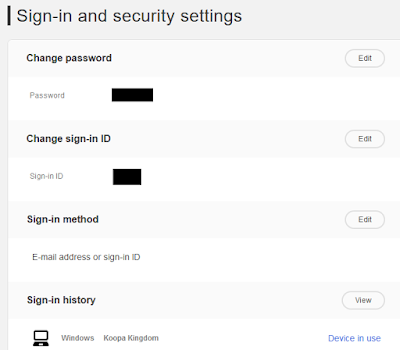 Nintendo Account sign-in and security settings password ID method history